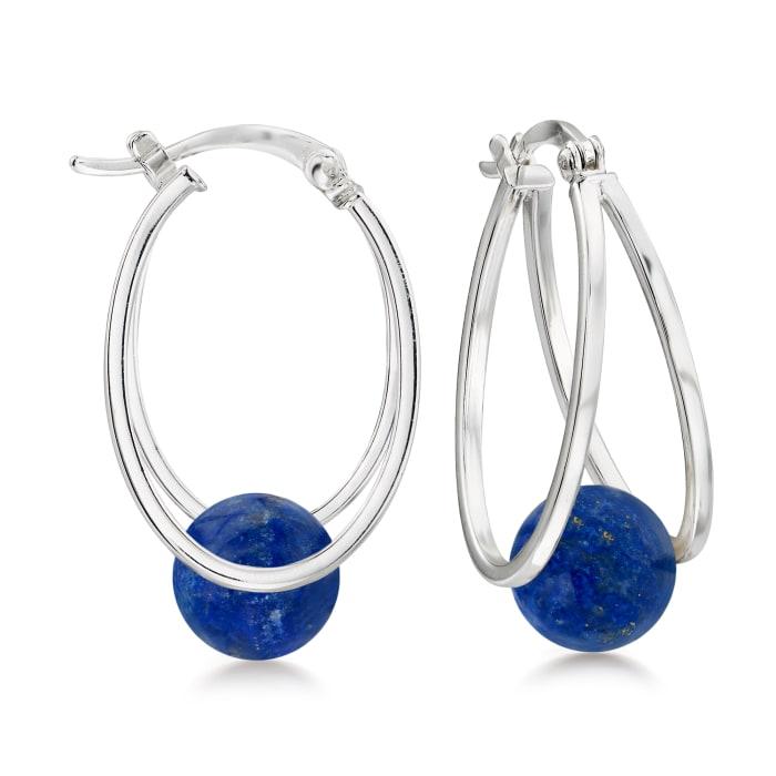 Lapis Bead Double-Hoop Earrings in Sterling Silver