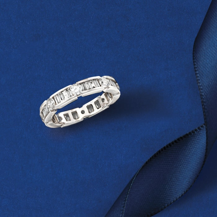 2.00 ct. t.w. Baguette and Round Diamond Eternity Band in 14kt White Gold