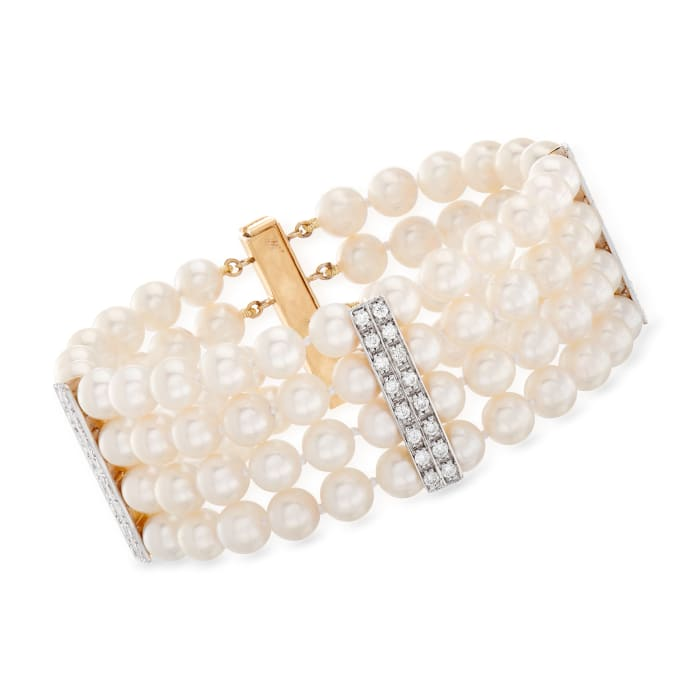 C. 1970 Vintage 6.5mm Cultured Pearl and 2.00 ct. t.w. Diamond Multi-Row Bracelet in 14kt Yellow Gold