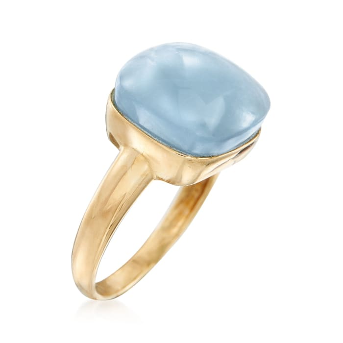11.00 Carat Milky Aquamarine Ring in 14kt Yellow Gold