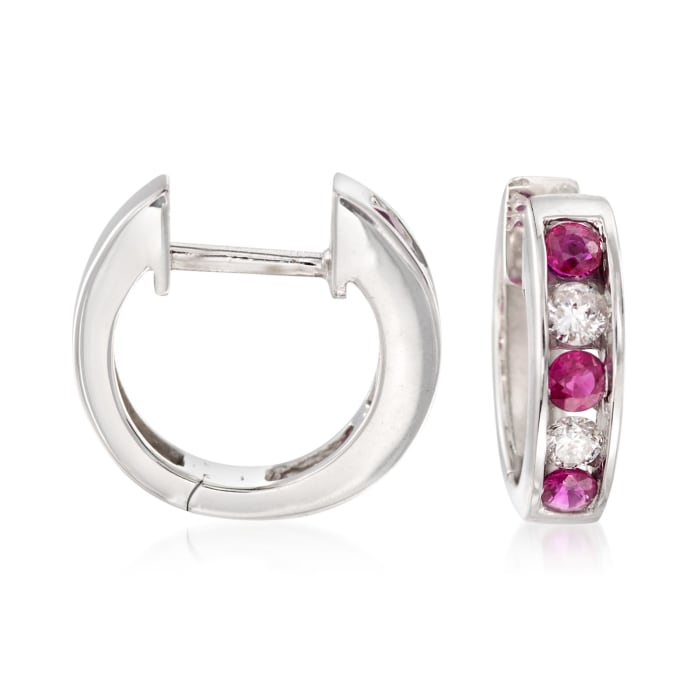 .30 ct. t.w. Ruby and .18 ct. t.w. Diamond Hoop Earrings in 14kt White Gold