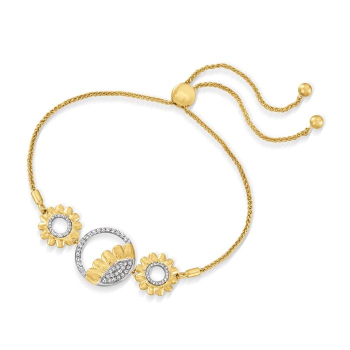 .33 ct. t.w. Diamond Sunflower Bolo Bracelet in 18kt Gold Over Sterling Silver