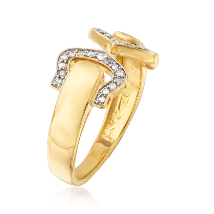 .15 ct. t.w. Diamond Open-Space Double- Buckle Ring in 18kt Gold Over Sterling