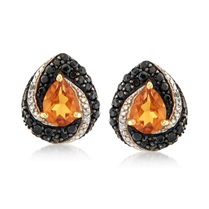 2.10 ct. t.w. Citrine and 1.20 ct. t.w. Black Spinel Earrings with White Zircon Accents in 18kt Yellow Gold Over Sterling Silver