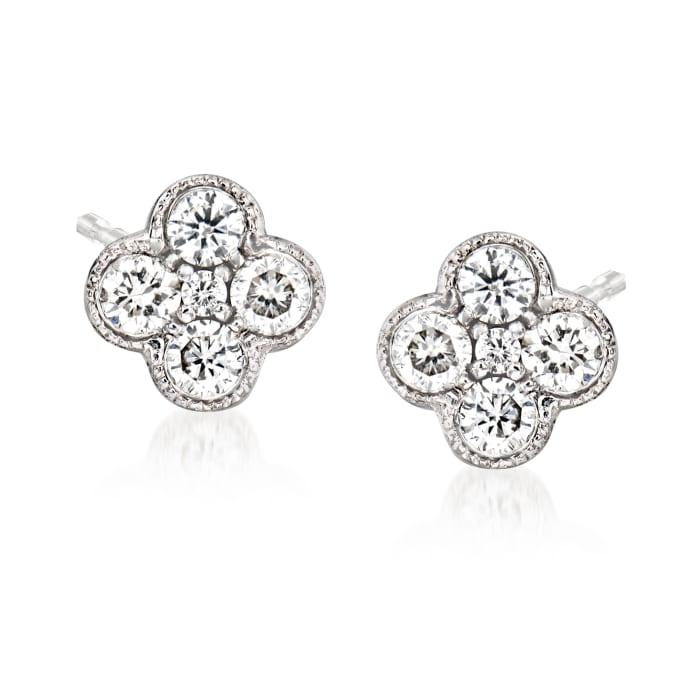 Gabriel Designs .25 ct. t.w. Diamond Cluster Stud Earrings in 14kt White Gold