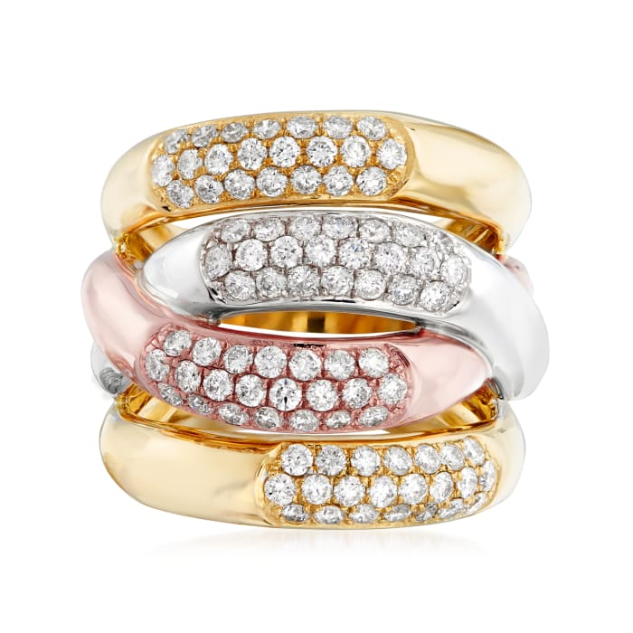 1.65 ct. t.w. Pave Diamond Twist Ring in 14kt Tri-Colored Gold