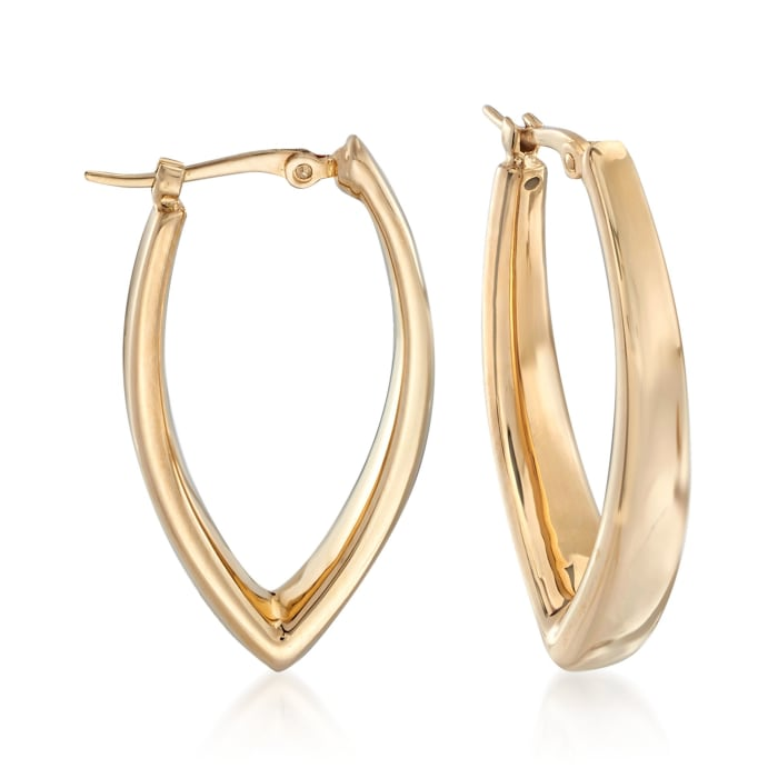 14kt Yellow Gold V-Shaped Hoop Earrings