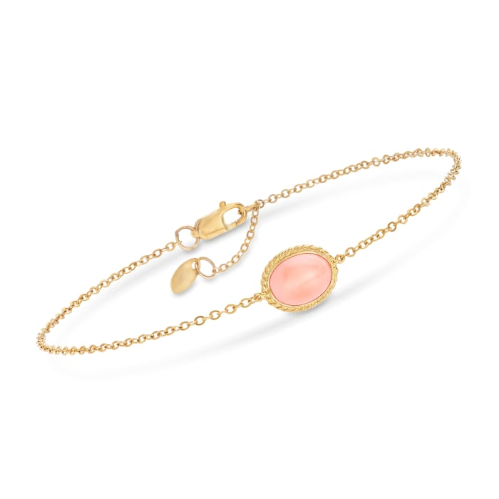 8x6mm Coral Bracelet in 14kt Yellow Gold