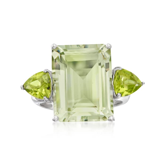 11.00 Carat Emerald-Cut Prasiolite and 1.40 ct. t.w. Peridot Ring in Sterling Silver