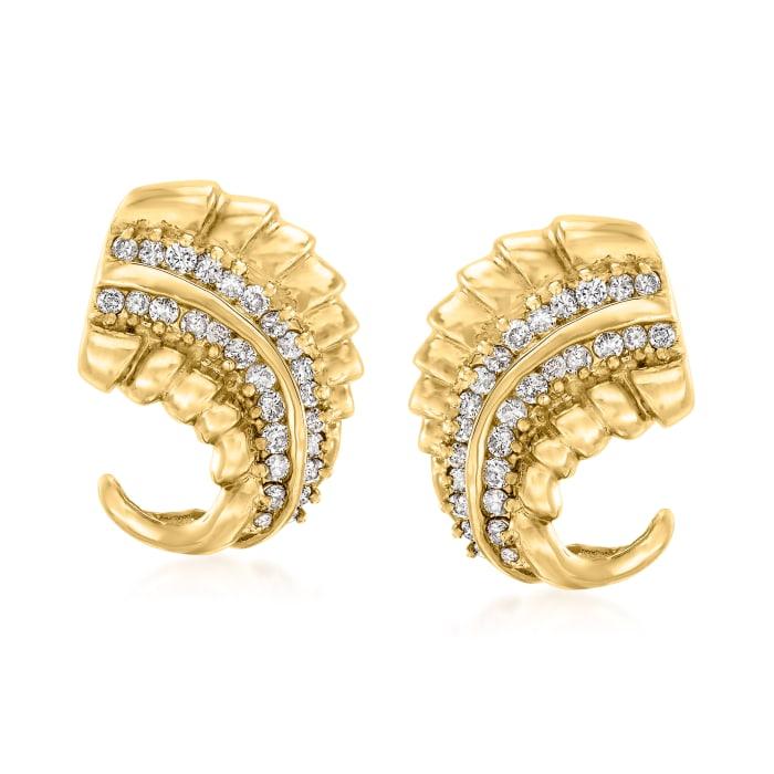 C. 1980 Vintage 1.30 ct. t.w. Diamond Leaf Earrings in 14kt Yellow Gold