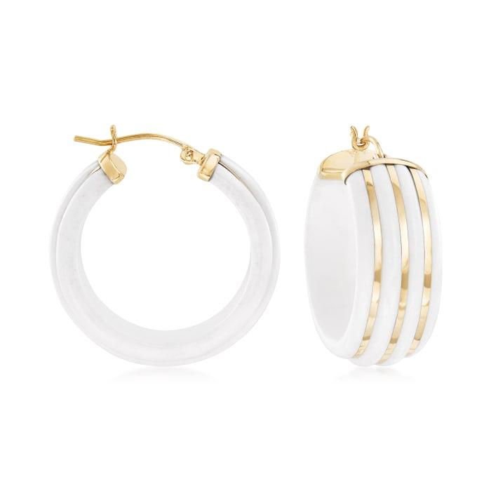 White Agate Striped Hoop Earrings in 14kt Yellow Gold
