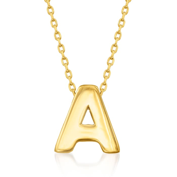 14kt Yellow Gold Mini Initial Necklace 17-inch  (A)