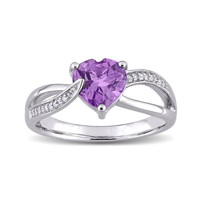 1.00 Carat Amethyst Heart Ring with Diamond Accents in Sterling Silver