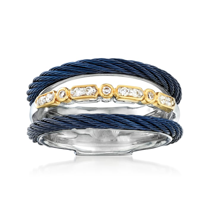 """ALOR """"Classique"""" Multi-Row Blue Stainless Steel Ring with Diamond Accents and 18kt Yellow Gold"""