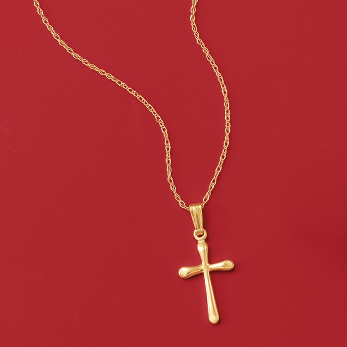 Child's 14kt Yellow Gold Cross Necklace