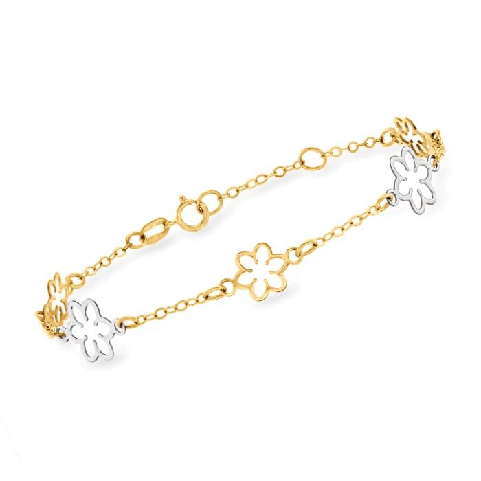 Italian 14kt Two-Tone Gold Flower Bracelet