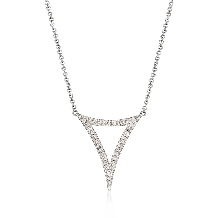 Gabriel Designs .25 ct. t.w. Diamond Open Triangle Necklace in 14kt White Gold