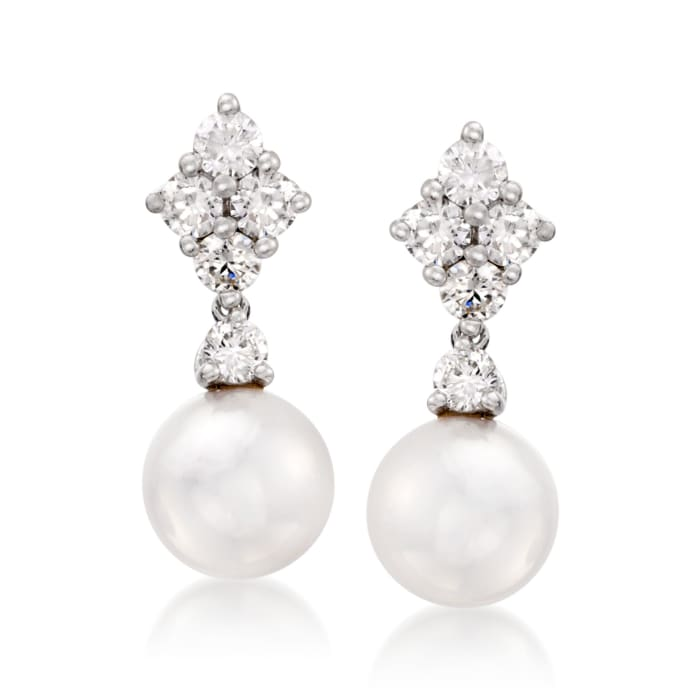 """Mikimoto """"Classic"""" 7.5mm Akoya Pearl and .70 ct. t.w. Diamond Drop Earrings in 18kt White Gold"""