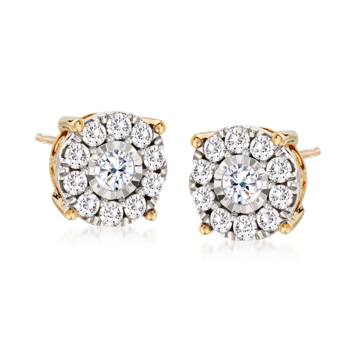 1.00 ct. t.w. Diamond Cluster Stud Earrings in 14kt Yellow Gold