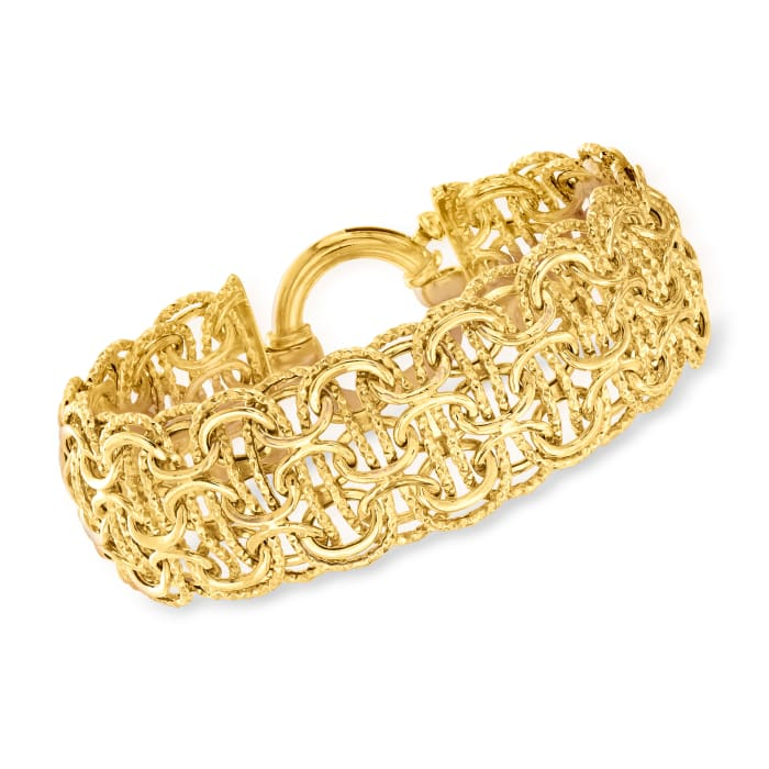 18kt Gold Over Sterling Multi-Circle Link Bracelet