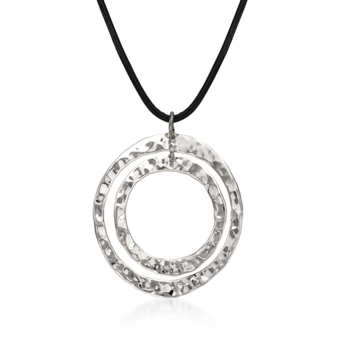 """Zina Sterling Silver """"Sahara"""" Double Circle Pendant Necklace"""