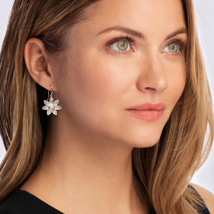 5mm Cultured Pearl Flower Drop Earrings in Sterling Silver and 14kt Yellow Gold