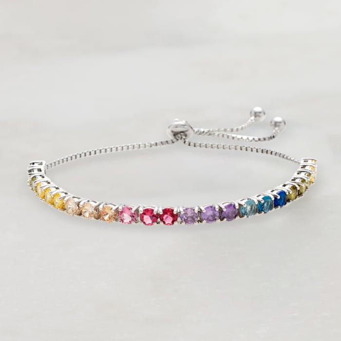 5.52 ct. t.w. Multicolored CZ Bolo Bracelet in Sterling Silver