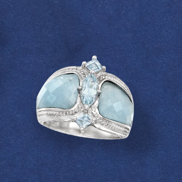 Milky Aquamarine and .85 ct. t.w. Blue Aquamarine Ring in Sterling Silver