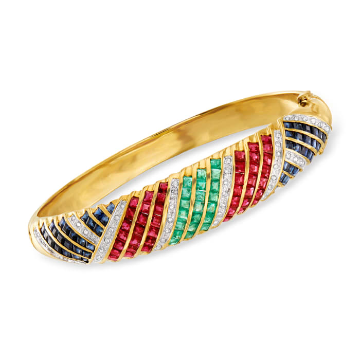 C. 1980 Vintage 10.65 ct. t.w. Multi-Gemstone and .50 ct. t.w. Diamond Bangle Bracelet in 14kt Yellow Gold