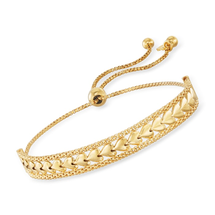 Italian 18kt Gold Over Sterling Heart Center Bolo Bracelet