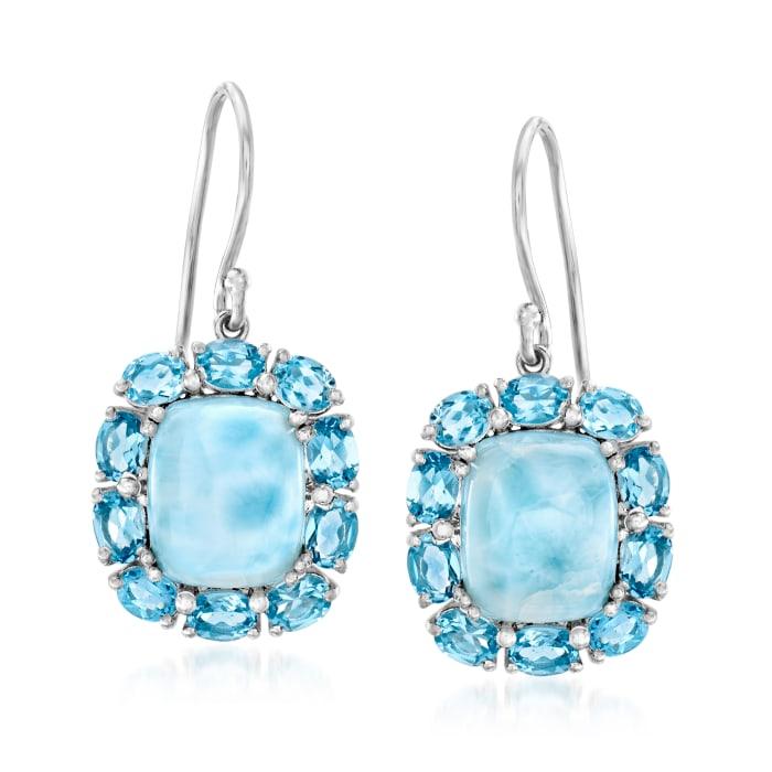 Larimar and 3.90 ct. t.w. Swiss Blue Topaz Drop Earrings in Sterling Silver