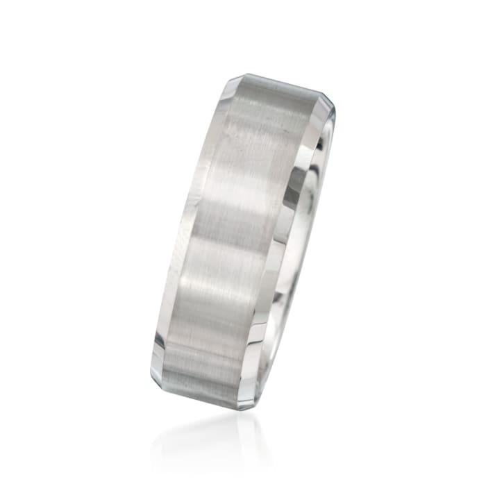Men's 8mm White Tungsten Carbide Wedding Ring