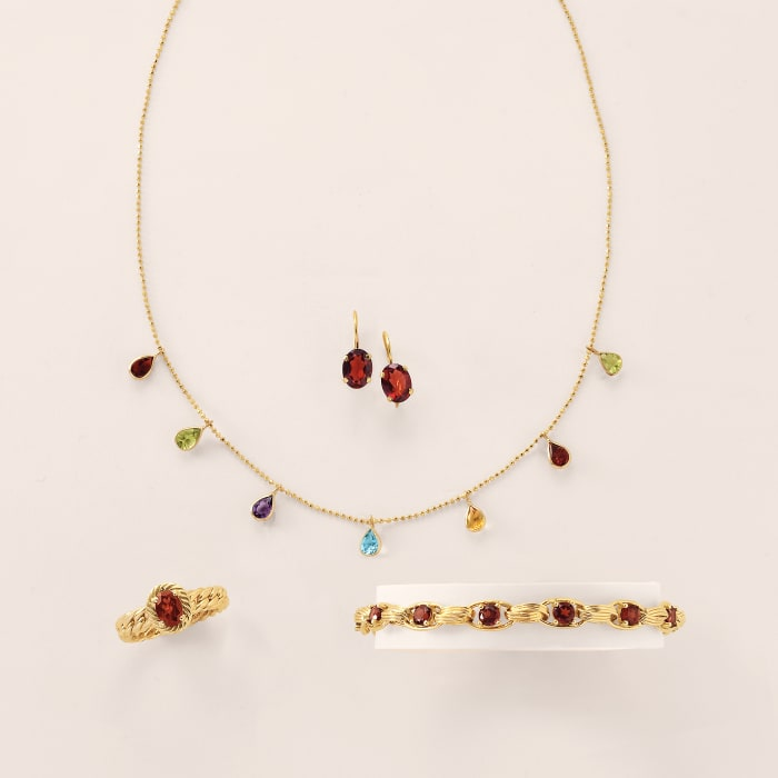 2.80 ct. t.w. Multi-Stone Station Necklace in 14kt Yellow Gold