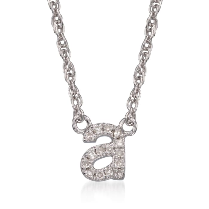 Diamond Accent Mini Initial Necklace in Sterling Silver 18-inch  (A)
