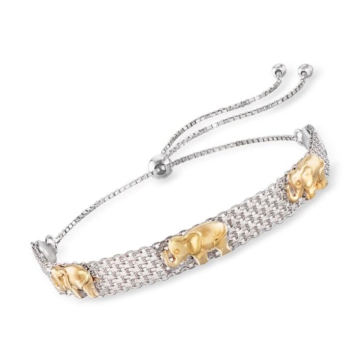 Sterling Silver and 18kt Gold Over Sterling Elephant Bismark-Link Bolo Bracelet