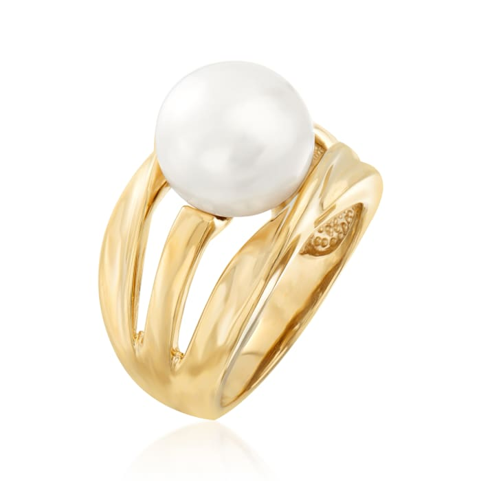 11-11.5mm Cultured Pearl Ring in 18kt Gold Over Sterling