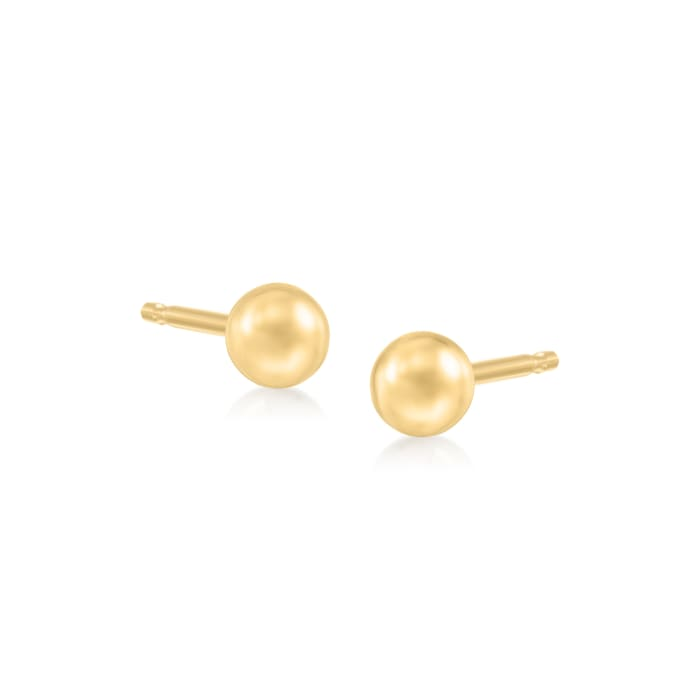 Italian 4mm 18kt Yellow Gold Ball Stud Earrings