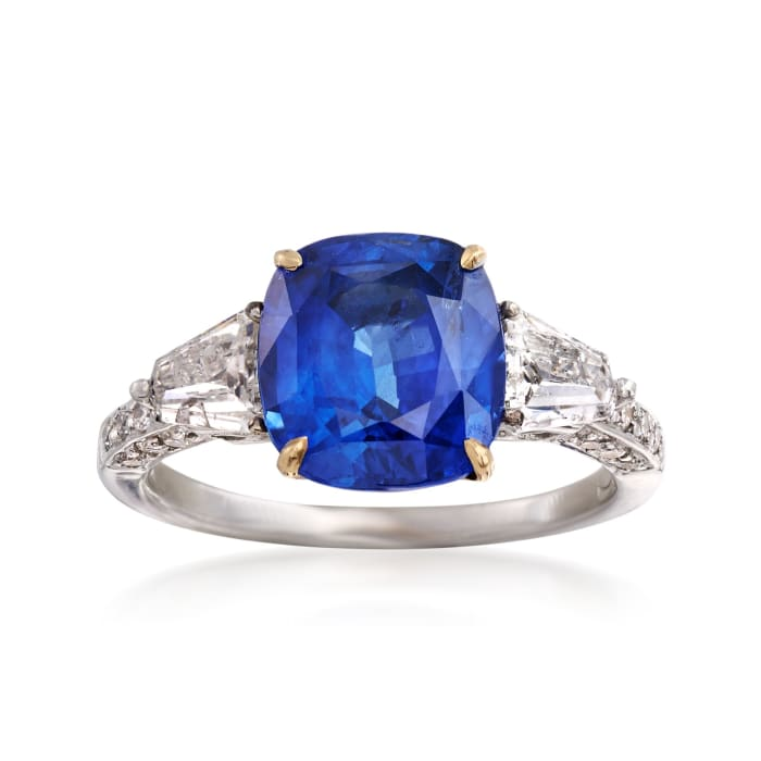 C. 1990 Vintage 4.05 Carat Sapphire and .90 ct. t.w. Diamond Ring in 18kt White Gold