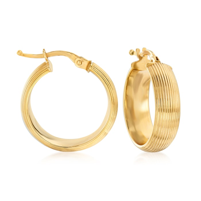 Italian 14kt Yellow Gold Ribbed Hoop Earrings