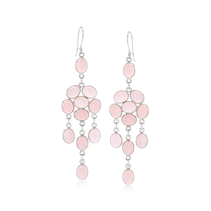 Pink Chalcedony Chandelier Drop Earrings in Sterling Silver