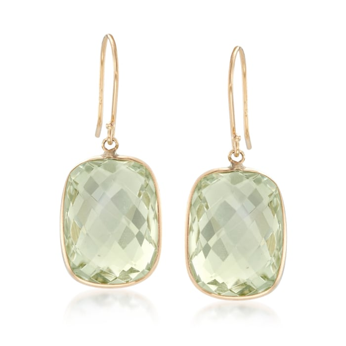 18.00 ct. t.w. Prasiolite Drop Earrings in 14kt Yellow Gold