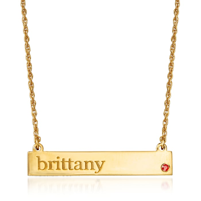 Birthstone Name Necklace in 18kt Yellow Gold Over Sterling Silver Jan/Garnet