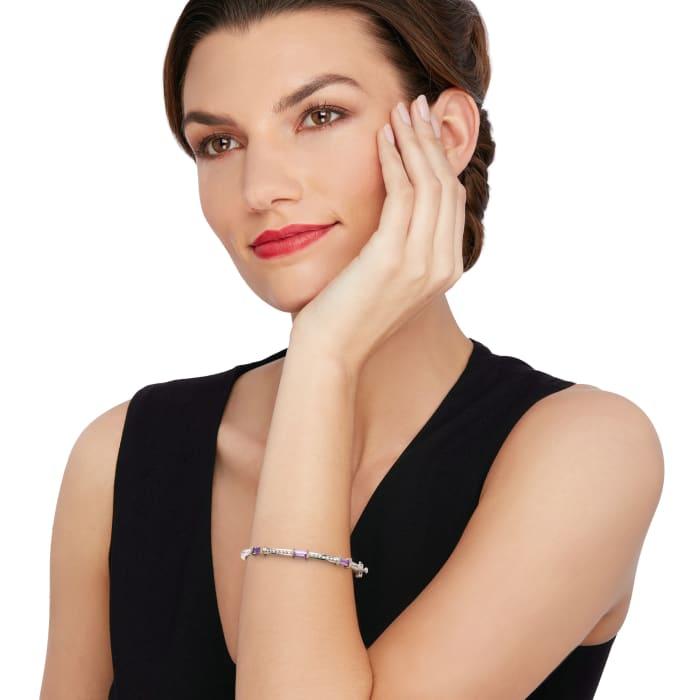"Andrea Candela ""La Romana"" 1.40 ct. t.w. Amethyst Station Bangle Bracelet in Sterling  and 18kt Gold"