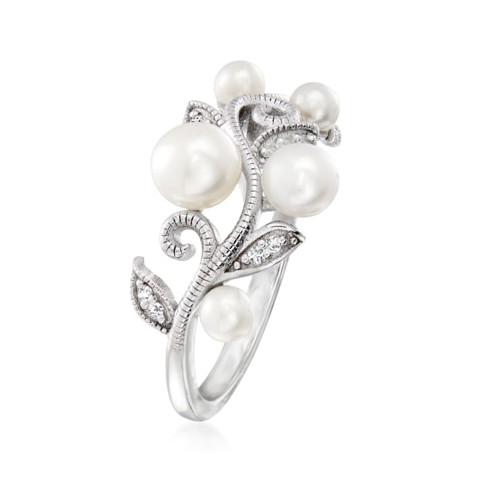 3-5.5mm Cultured Pearl Leaf Ring with Diamond Accents in Sterling Silver