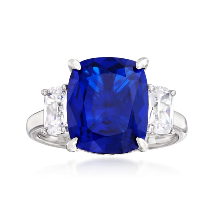 6.25 Carat Simulated Sapphire and 1.10 ct. t.w. CZ Three-Stone Ring in Sterling Silver