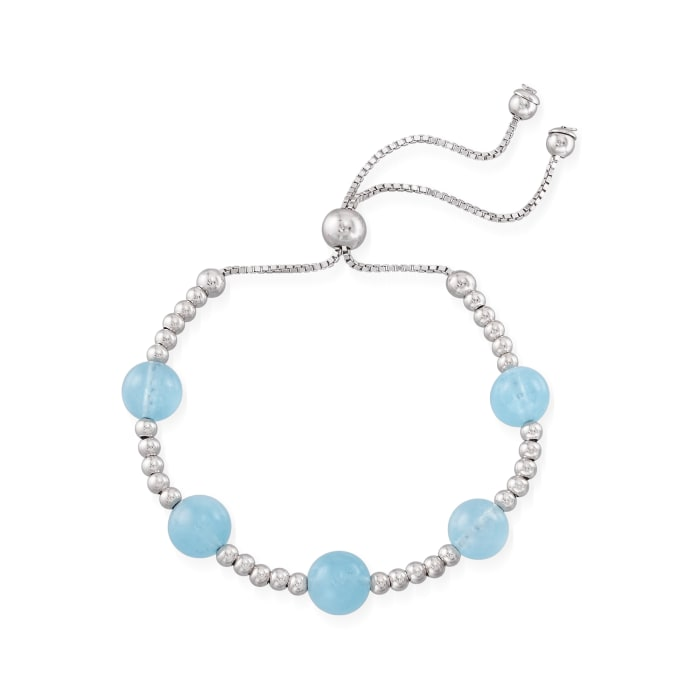 17.00 ct. t.w. Aquamarine Beaded Bolo Bracelet in Sterling Silver