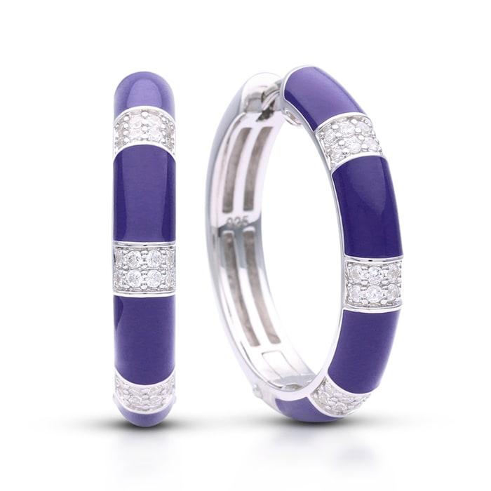 """Belle Etoile """"Barre"""" Blue Enamel and .40 ct. t.w. CZ Omega Earrings in Sterling Silver"""