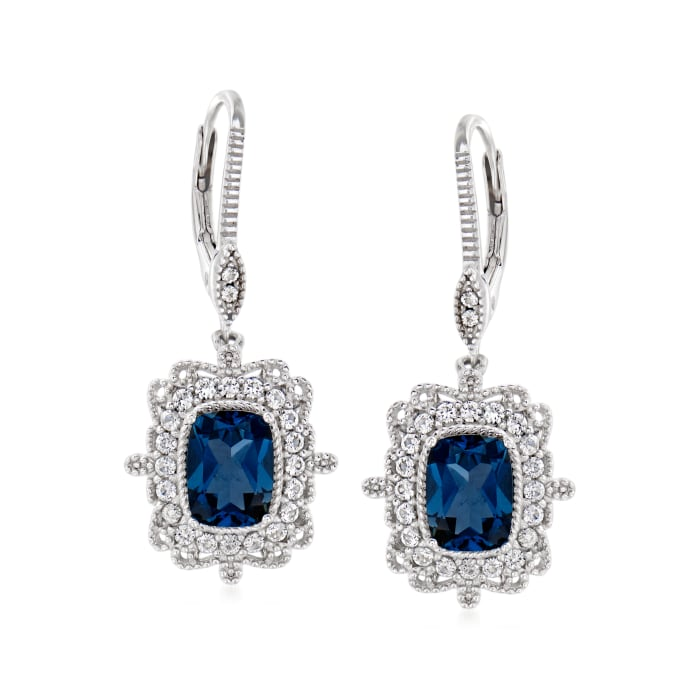 4.40 ct. t.w. London Blue and White Topaz Drop Earrings in Sterling Silver