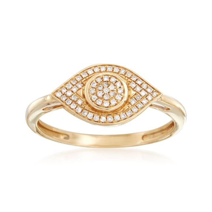 .10 ct. t.w. Pave Diamond Evil Eye Ring in 14kt Yellow Gold