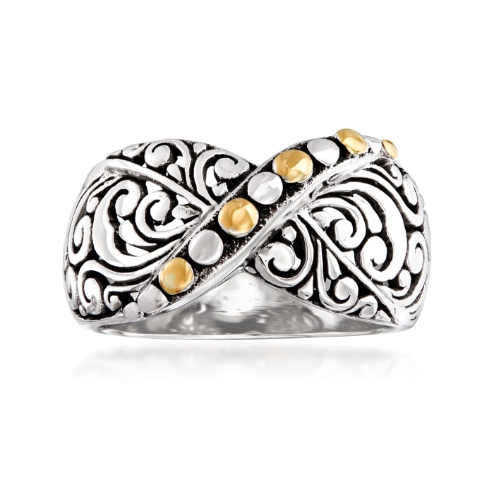 Sterling Silver Bali-Style X Ring with 14kt Yellow Gold